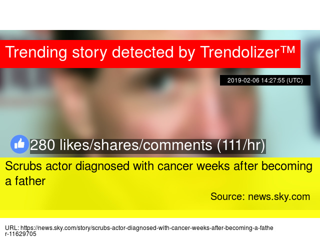 Scrubs actor diagnosed with cancer weeks after becoming a father