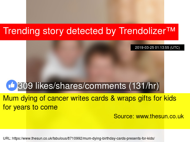 Mum dying of cancer writes cards wraps gifts for kids for years to come