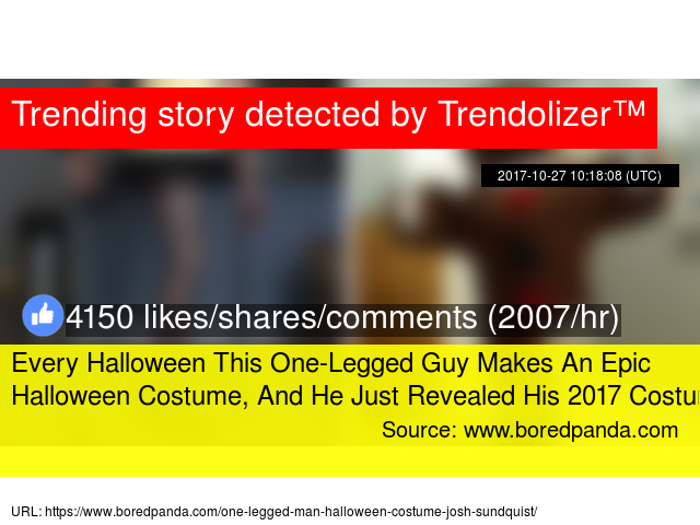 cf3cea7a Every Halloween This One-Legged Guy Makes An Epic Halloween Costume, And He  Just Revealed His 2017 Costume