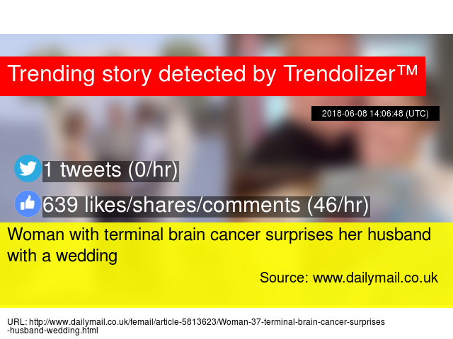 Woman with terminal brain cancer surprises her husband with a wedding