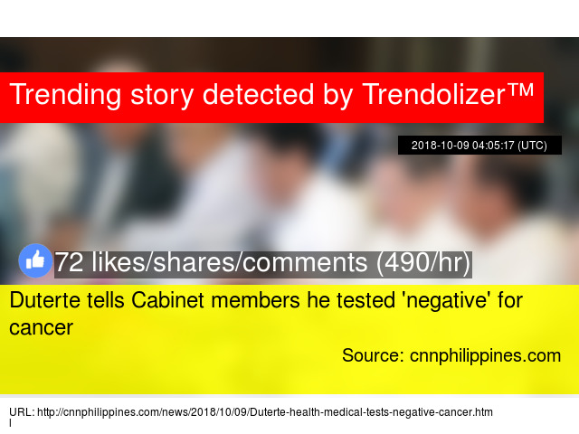Duterte Tells Cabinet Members He Tested Negative For Cancer